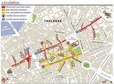 carte piéton toulouse Toulouse : rue du Taur, des Changes et des Filatiers piétonnes !
