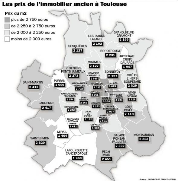 toulouse nouvelle carte des prix immobiliers par quartiers toulouse immobilier 31. Black Bedroom Furniture Sets. Home Design Ideas