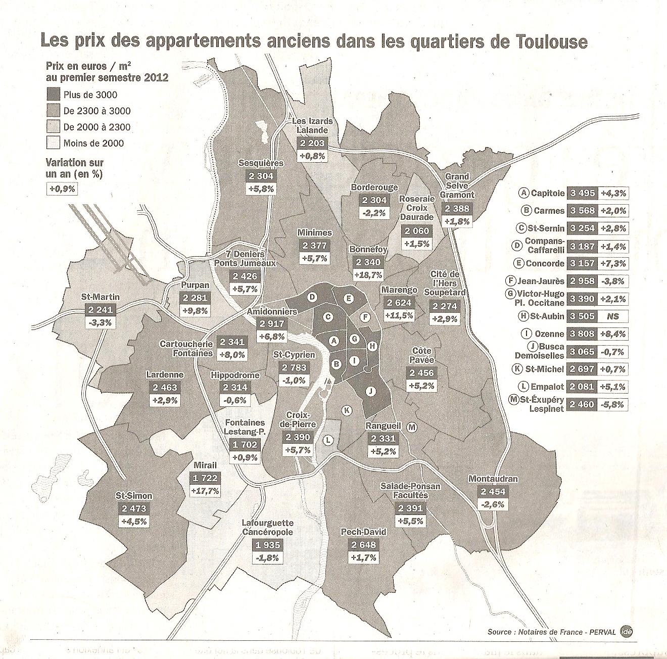 Toulouse immobilier prix vente quartiers 20121 Toulouse : les prix de vente 2012 par quartiers
